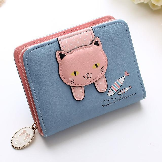 Hanging Cat Mini Purse Blue Gotamochi BTS MERCH BT21 MERCH KAWAII STORE
