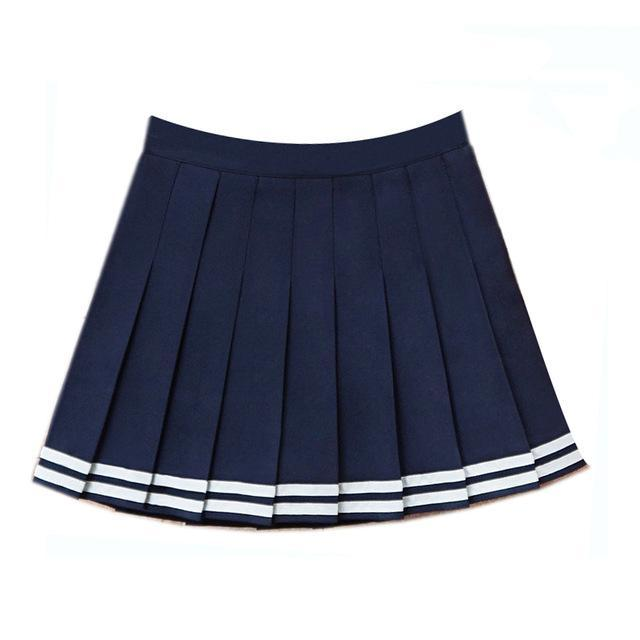 Harajuku Japanese Pleated High Waist Skirt [3 Colors] ShenLan / L Gotamochi BTS MERCH BT21 MERCH KAWAII STORE