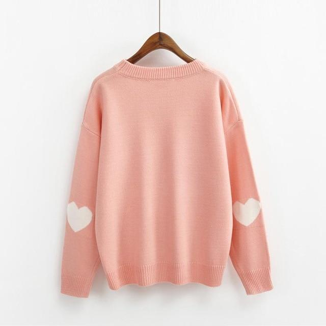 Hearts On My Sleeves Loose Pullover Pink / One Size Gotamochi BTS MERCH BT21 MERCH KAWAII STORE