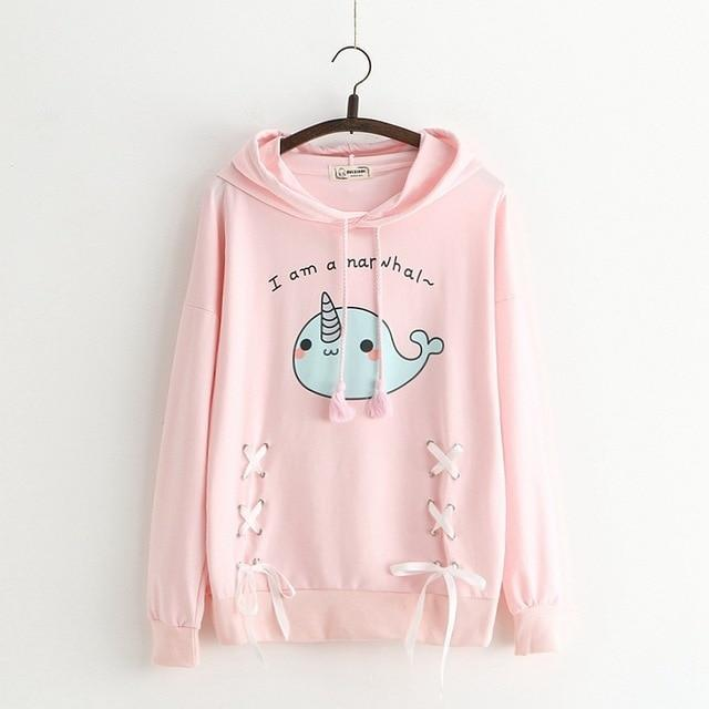 I Am A Narwhal Lace Up Hoodie Kawaii Pullover Pink / One Size Gotamochi BTS MERCH BT21 MERCH KAWAII STORE