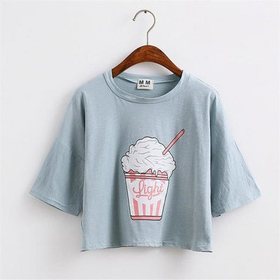 Ice Cream Sundae Crop Top Sky Blue Gotamochi BTS MERCH BT21 MERCH KAWAII STORE