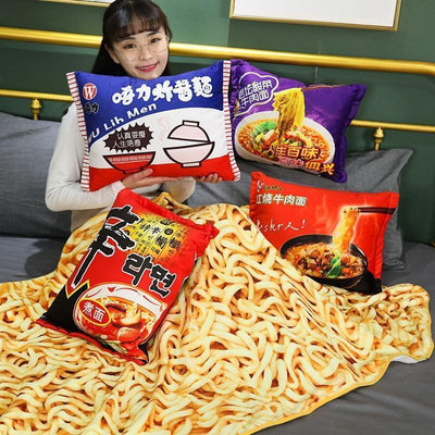 Instant Noodles Plush Pillow and Blanket Kawaii Ramen Bedroom Accessory Gotamochi BTS MERCH BT21 MERCH KAWAII STORE