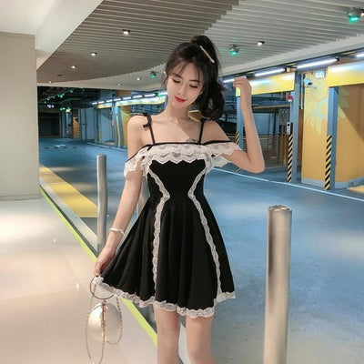 Japanese High Waist Lace Party Dress Kawaii Mini Black / S Gotamochi BTS MERCH BT21 MERCH KAWAII STORE