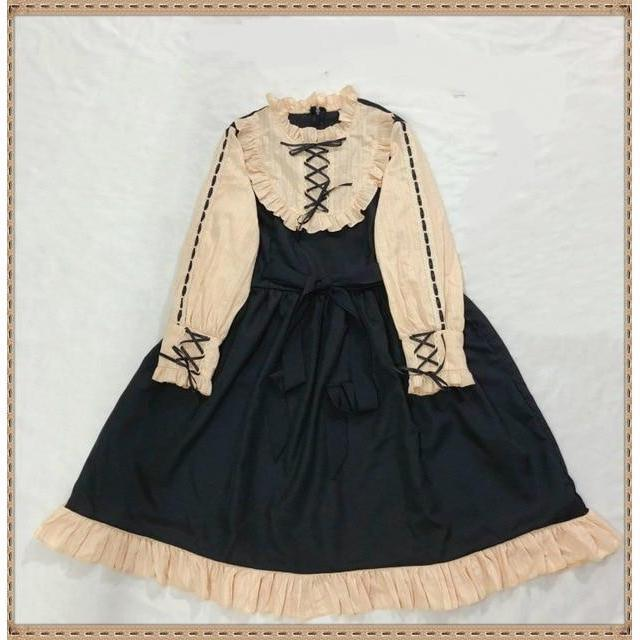 Japanese Patchwork and Bow Lolita Ruffle Dress Dress Only / One Size Gotamochi BTS MERCH BT21 MERCH KAWAII STORE
