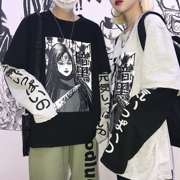 Japanese Psycho Two Piece Long Sleeve Kawaii T-Shirt [2 Colors] Gotamochi BTS MERCH BT21 MERCH KAWAII STORE