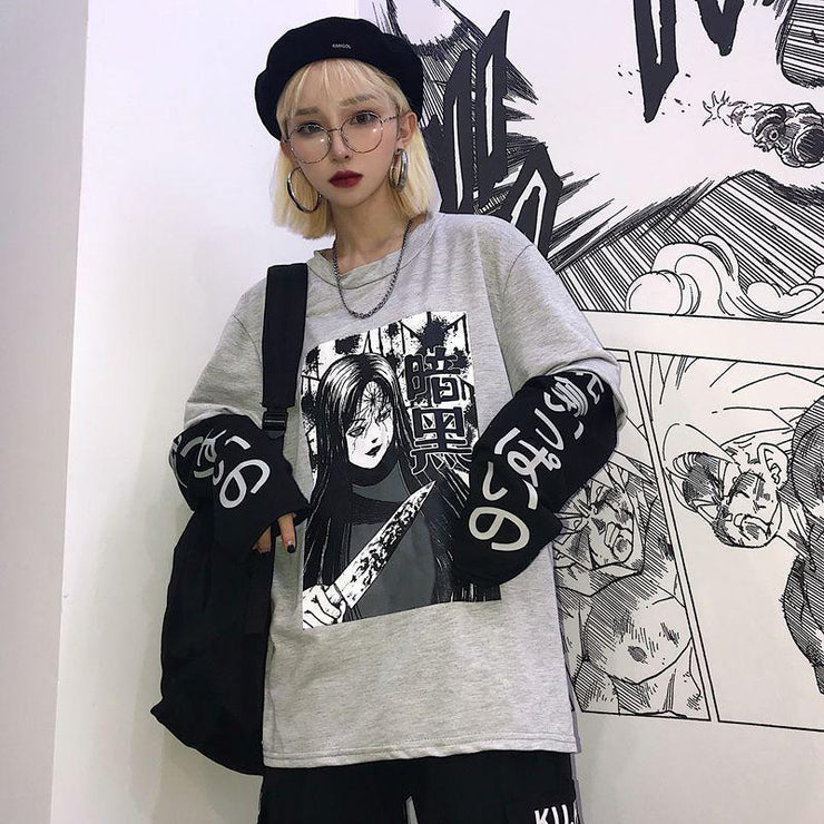 Japanese Psycho Two Piece Long Sleeve Kawaii T-Shirt [2 Colors] Gray Gotamochi BTS MERCH BT21 MERCH KAWAII STORE