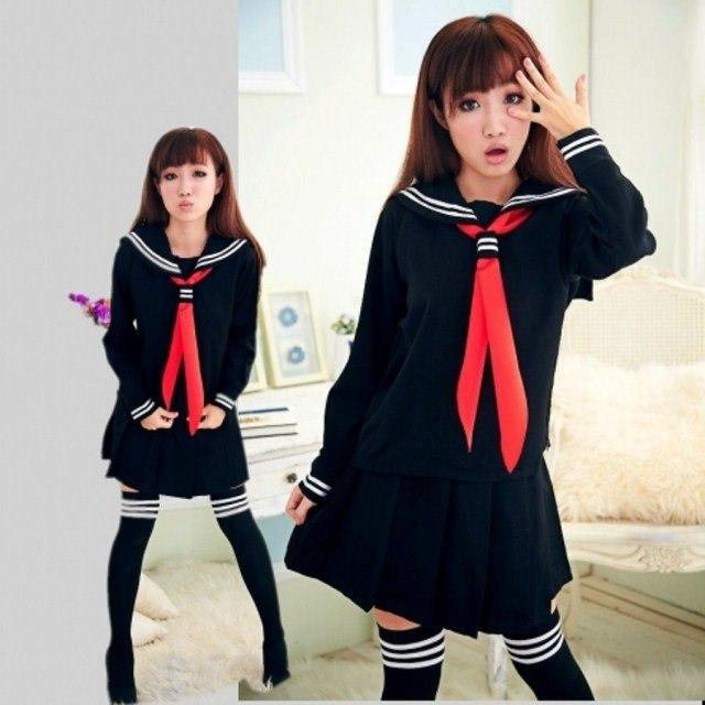 Japanese School Sailor Uniform Cosplay Set Black 2pcs / S Gotamochi BTS MERCH BT21 MERCH KAWAII STORE