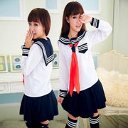 Japanese School Sailor Uniform Cosplay Set White 2pcs add sock / S Gotamochi BTS MERCH BT21 MERCH KAWAII STORE