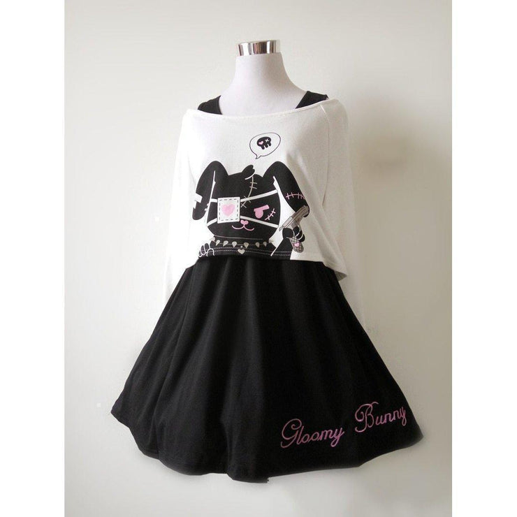 Kawaii Black Rabbit Dress Gloomy Bunny 2 Pc Set Harajuku Style Gotamochi BTS MERCH BT21 MERCH KAWAII STORE
