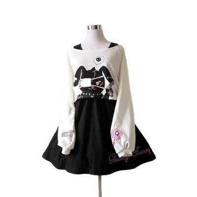 Kawaii Black Rabbit Dress Gloomy Bunny 2 Pc Set Harajuku Style M Gotamochi BTS MERCH BT21 MERCH KAWAII STORE