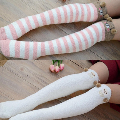 Kawaii Fuzzy Thigh High Animal Stockings Microfiber Socks [6 Variations] Gotamochi BTS MERCH BT21 MERCH KAWAII STORE