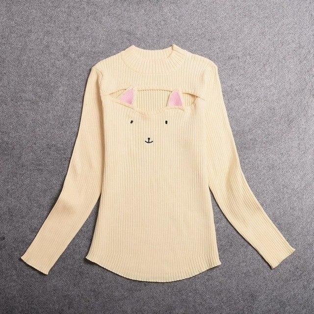 Kawaii Neko Hollow Chest Sweater Beige / One Size Gotamochi BTS MERCH BT21 MERCH KAWAII STORE