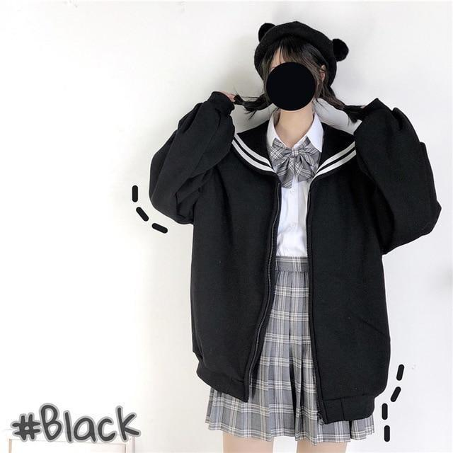 Kawaii Oversized Sailor Collar Sweatshirt Long Sleeve Casual Jacket Black / S Gotamochi BTS MERCH BT21 MERCH KAWAII STORE