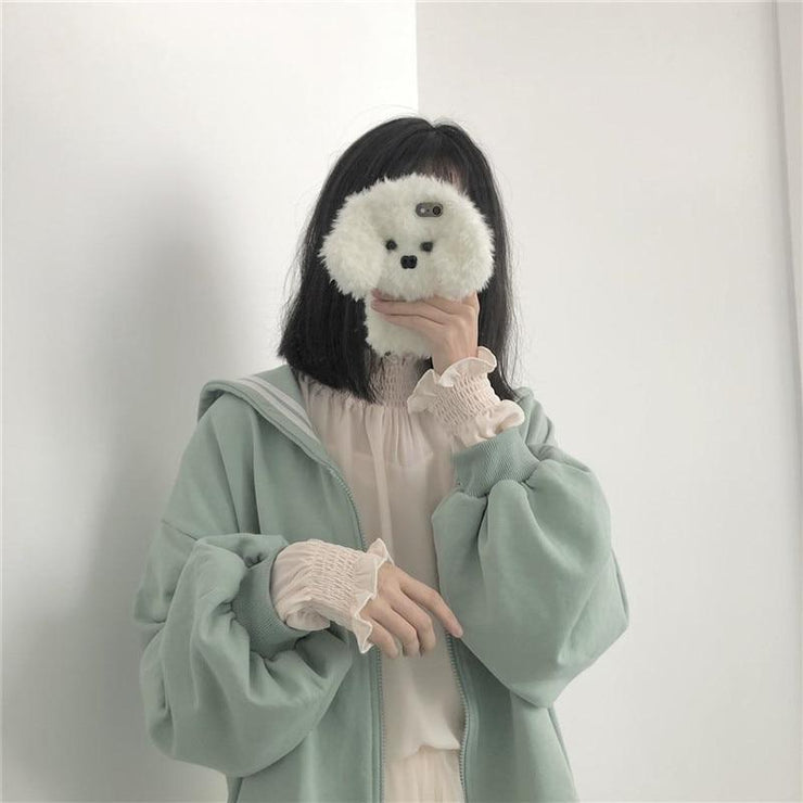 Kawaii Oversized Sailor Collar Sweatshirt Long Sleeve Casual Jacket Gotamochi BTS MERCH BT21 MERCH KAWAII STORE