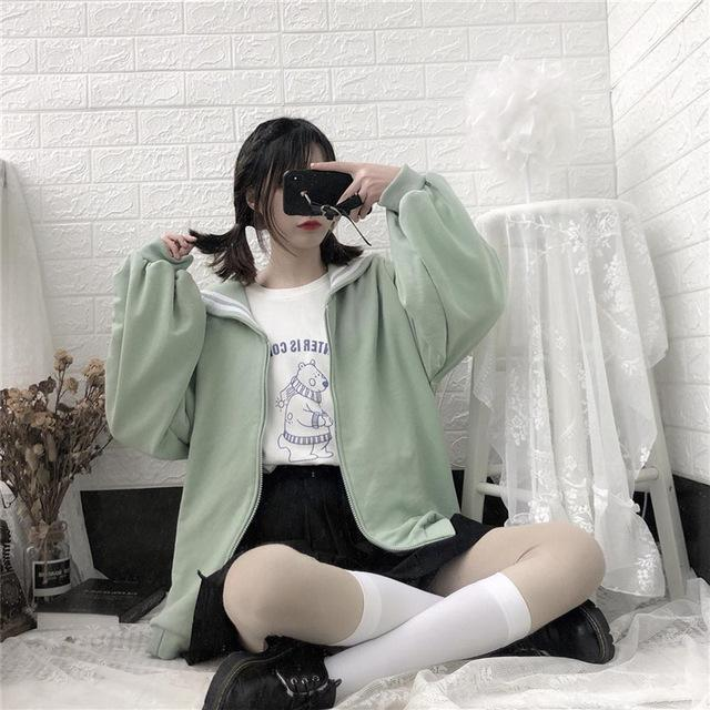 Kawaii Oversized Sailor Collar Sweatshirt Long Sleeve Casual Jacket Green / S Gotamochi BTS MERCH BT21 MERCH KAWAII STORE