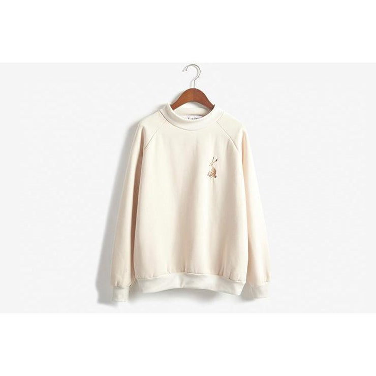 Kawaii Rabbit Embroidery Spring Sweatshirt [2 Colors] Apricot / One Size Gotamochi BTS MERCH BT21 MERCH KAWAII STORE