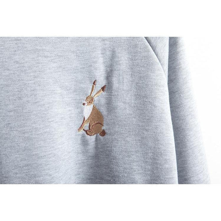 Kawaii Rabbit Embroidery Spring Sweatshirt [2 Colors] Gotamochi BTS MERCH BT21 MERCH KAWAII STORE