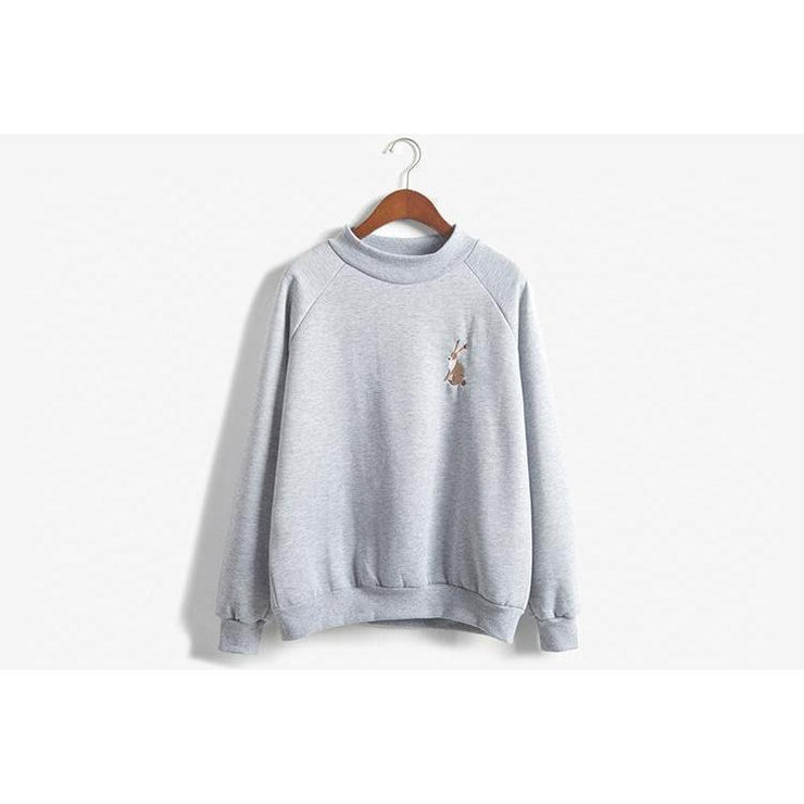 Kawaii Rabbit Embroidery Spring Sweatshirt [2 Colors] Gray / One Size Gotamochi BTS MERCH BT21 MERCH KAWAII STORE