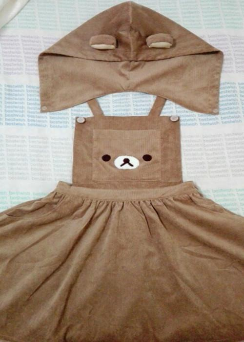 Kawaii Rilakkuma Cute Hooded Dress Gotamochi BTS MERCH BT21 MERCH KAWAII STORE