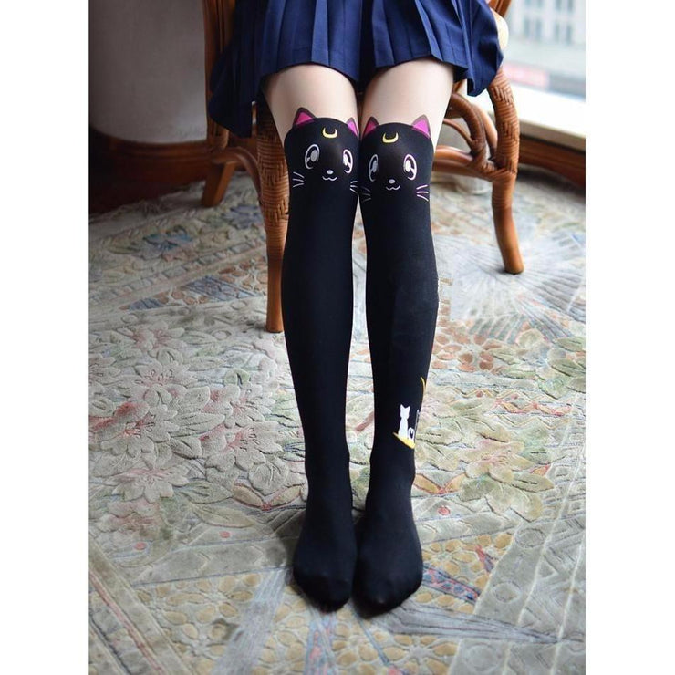 Kawaii Sailor Moon Cat Luna And Artemis Knee High Socks [2 Colors] Black Gotamochi BTS MERCH BT21 MERCH KAWAII STORE