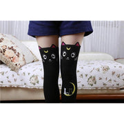 Kawaii Sailor Moon Cat Luna And Artemis Knee High Socks [2 Colors] Gotamochi BTS MERCH BT21 MERCH KAWAII STORE