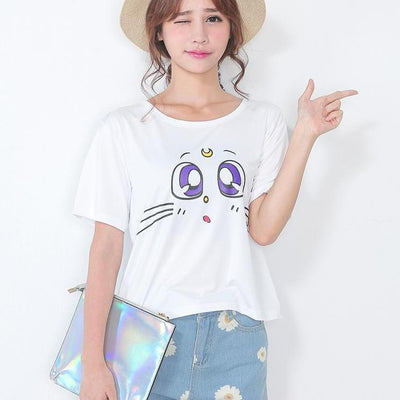 Kawaii Sailor Moon Luna Cat Eyes T-Shirt One Size Gotamochi BTS MERCH BT21 MERCH KAWAII STORE