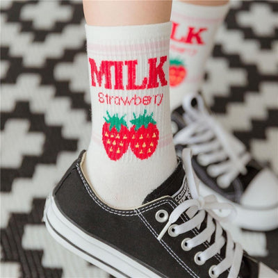 Kawaii Strawberry Milk Socks Gotamochi BTS MERCH BT21 MERCH KAWAII STORE