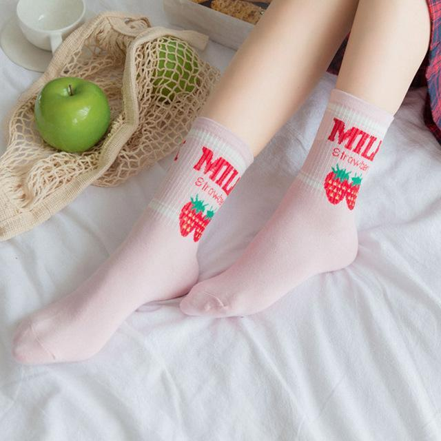 Kawaii Strawberry Milk Socks 519-2 Gotamochi BTS MERCH BT21 MERCH KAWAII STORE