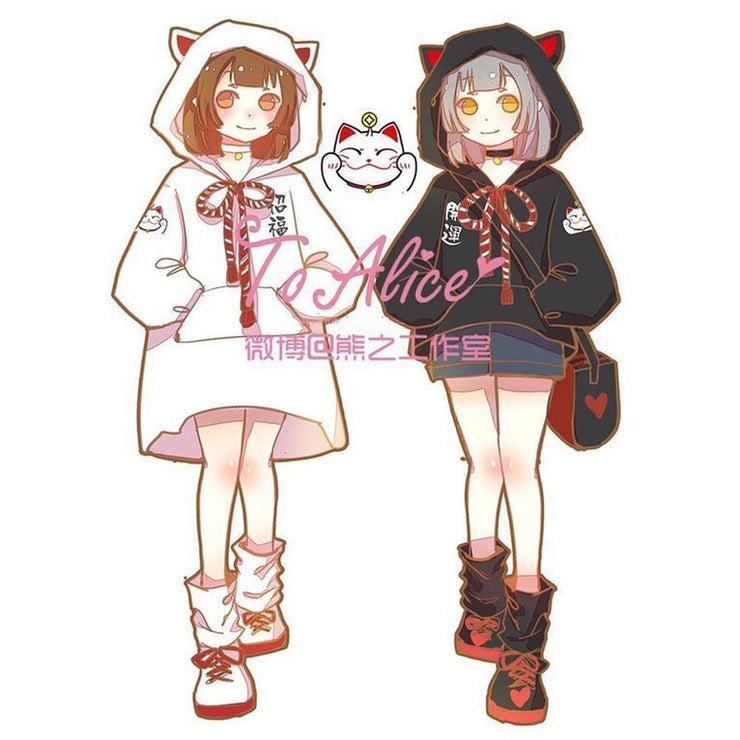 Kawaii To Alice Cat Ears Hoodie Sweatshirt / Dress [2 Styles] Gotamochi BTS MERCH BT21 MERCH KAWAII STORE