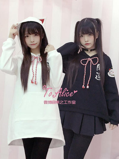 Kawaii To Alice Kitty Ears Hoodie + Dress - GOTAMOCHI KPOP BTS MERCH KAWAII Shop -