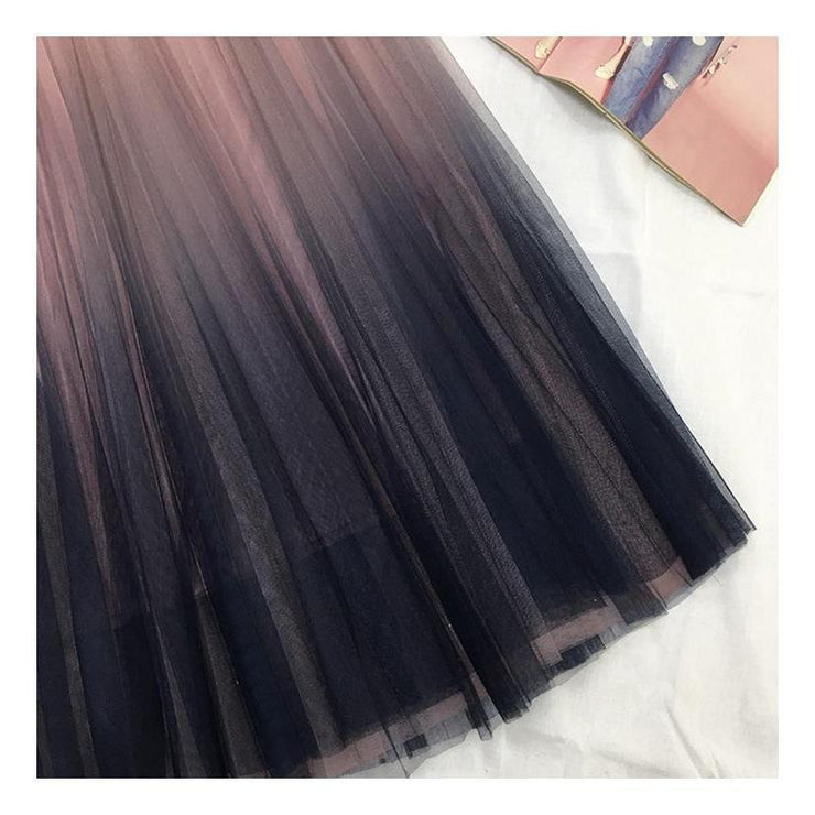 Korean High Waist Long Tulle Skirt Kawaii Falda Gotamochi BTS MERCH BT21 MERCH KAWAII STORE