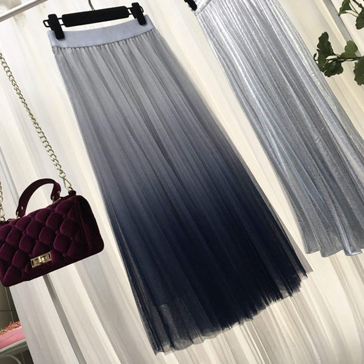 Korean High Waist Long Tulle Skirt Kawaii Falda Gray / One Size Gotamochi BTS MERCH BT21 MERCH KAWAII STORE