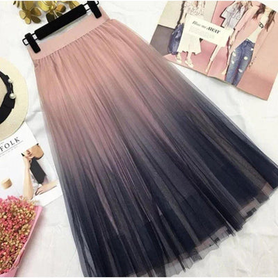 Korean High Waist Long Tulle Skirt Kawaii Falda Pink / One Size Gotamochi BTS MERCH BT21 MERCH KAWAII STORE