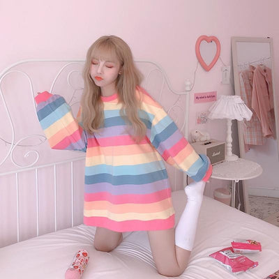 Korean Rainbow Striped Long Sleeve Sweatshirt Kawaii Pastel Top Gotamochi BTS MERCH BT21 MERCH KAWAII STORE