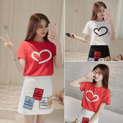 Korean Short Sleeved Heart T-shirt and High Waist Skirt Cute Casual Top Gotamochi BTS MERCH BT21 MERCH KAWAII STORE