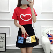 Korean Short Sleeved Heart T-shirt and High Waist Skirt Cute Casual Top Red and Black / M Gotamochi BTS MERCH BT21 MERCH KAWAII STORE