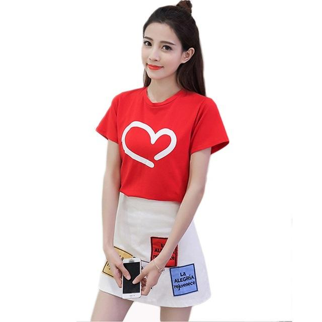 Korean Short Sleeved Heart T-shirt and High Waist Skirt Cute Casual Top Red and White / M Gotamochi BTS MERCH BT21 MERCH KAWAII STORE