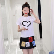 Korean Short Sleeved Heart T-shirt and High Waist Skirt Cute Casual Top White and Black / M Gotamochi BTS MERCH BT21 MERCH KAWAII STORE