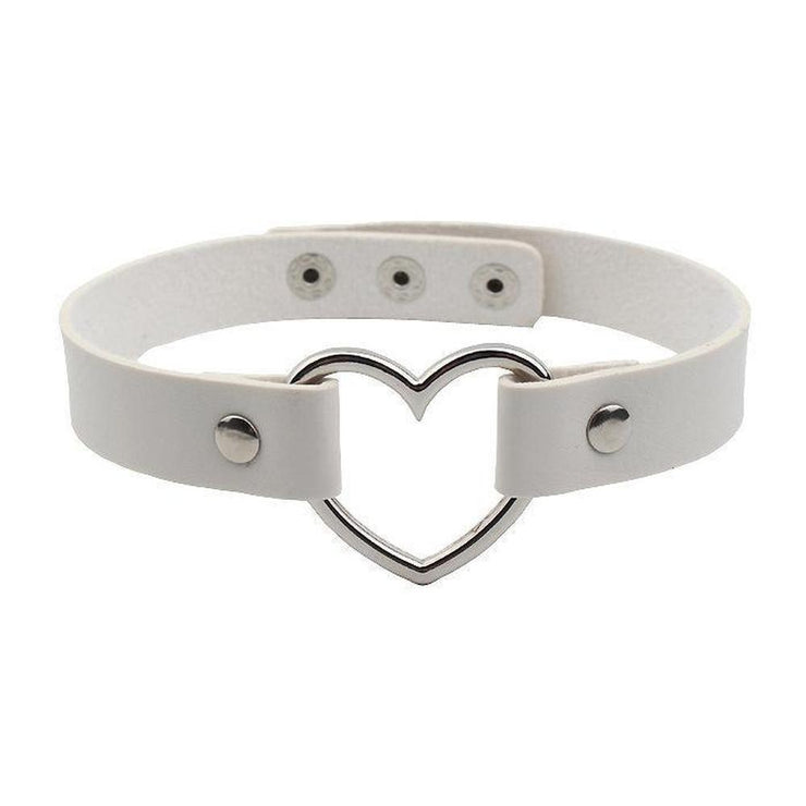 Menhera Yami Kawaii Goth Heart Ring Choker [10 Colors] White Gotamochi BTS MERCH BT21 MERCH KAWAII STORE