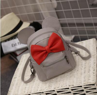 Minnie Leather Backpack red bow Gray Gotamochi BTS MERCH BT21 MERCH KAWAII STORE
