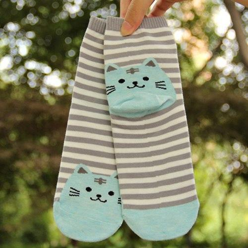 Neko Kitty Cat Stripped Socks - GOTAMOCHI KPOP BTS MERCH KAWAII Shop -