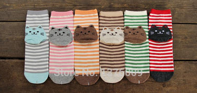Neko Kitty Cat Stripped Socks Gotamochi BTS MERCH BT21 MERCH KAWAII STORE