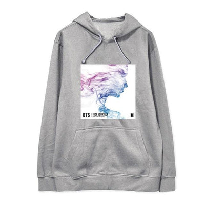 NEW BTS Face Yourself Long Sleeve Concert Hoodie grey / S Gotamochi BTS MERCH BT21 MERCH KAWAII STORE