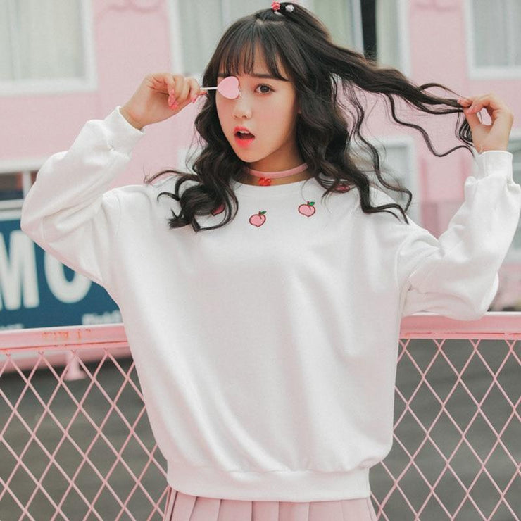 Peach Embroidered Long Sleeve Sweatshirt Harajuku Sweater White / M Gotamochi BTS MERCH BT21 MERCH KAWAII STORE