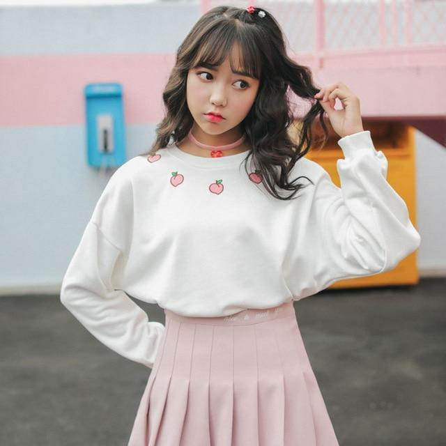 Peach Embroidered Long Sleeve Sweatshirt Harajuku Sweater White / S Gotamochi BTS MERCH BT21 MERCH KAWAII STORE