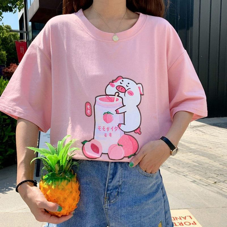 Pig Sipping Strawberry Milk T-Shirt Harajuku Cartoon Top Gotamochi BTS MERCH BT21 MERCH KAWAII STORE
