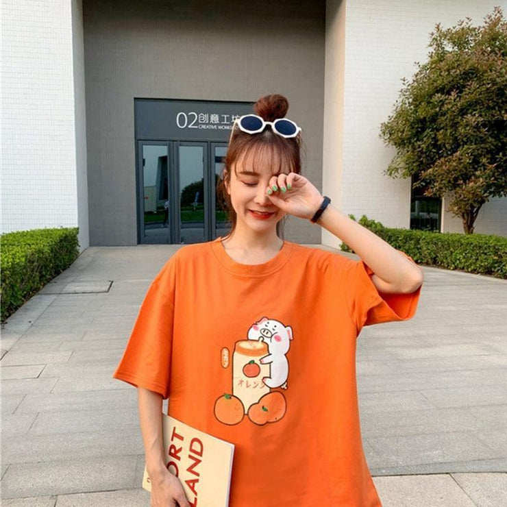 Pig Sipping Strawberry Milk T-Shirt Harajuku Cartoon Top Orange / One Size Gotamochi BTS MERCH BT21 MERCH KAWAII STORE