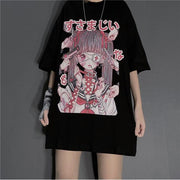 Punk Gothic Grunge T-Shirt Loose Menhera Top Black / S Gotamochi BTS MERCH BT21 MERCH KAWAII STORE