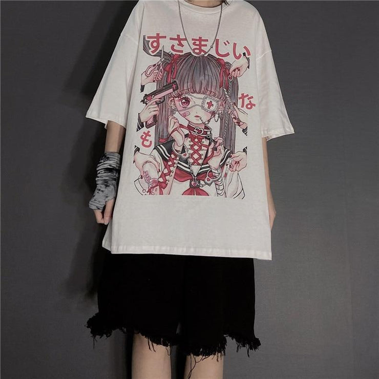 Punk Gothic Grunge T-Shirt Loose Menhera Top Gotamochi BTS MERCH BT21 MERCH KAWAII STORE