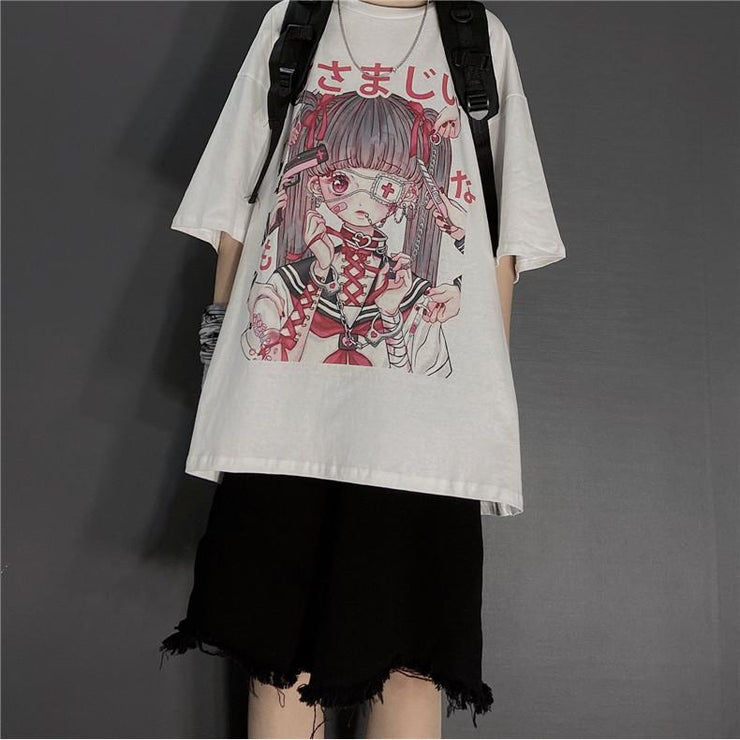 Punk Gothic Grunge T-Shirt Loose Menhera Top White / S Gotamochi BTS MERCH BT21 MERCH KAWAII STORE